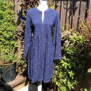 NWT Old Navy Dark Blue Print Tie Back Dress  D120